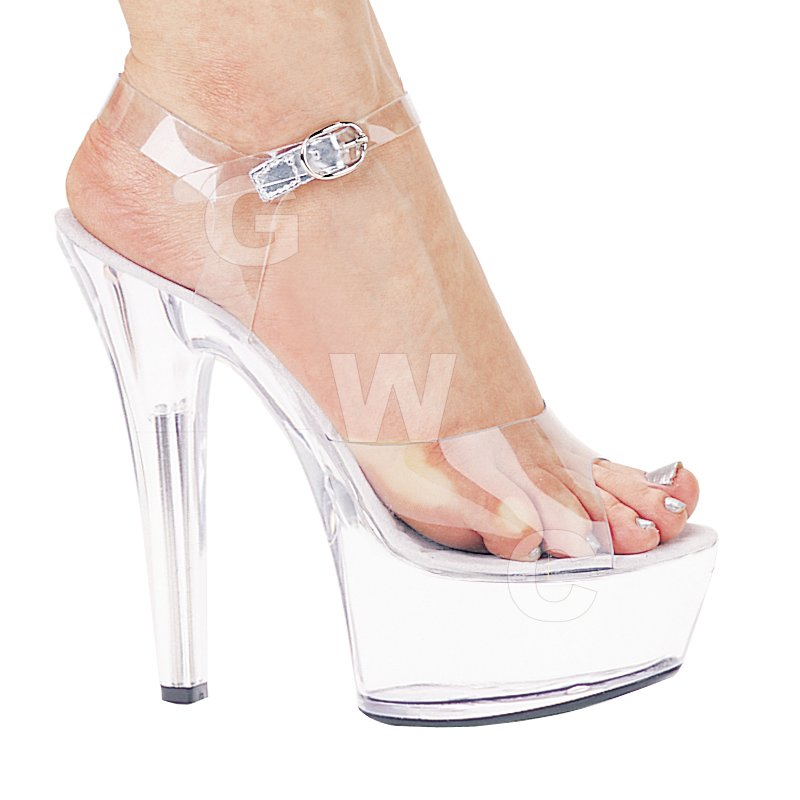 Brook 6 - Clear Open Toe Pump w/ Ankle Strap, 6-inch Heel & 2-in